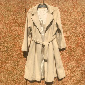 Vtg Cream Cashmere Spring Coat Trench Style